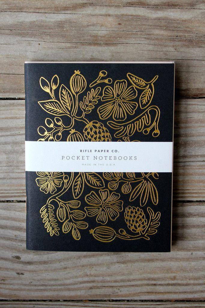 Rifel Paper Co. Pocket notebook features metallic gold foil floral design. $10 for 2.
