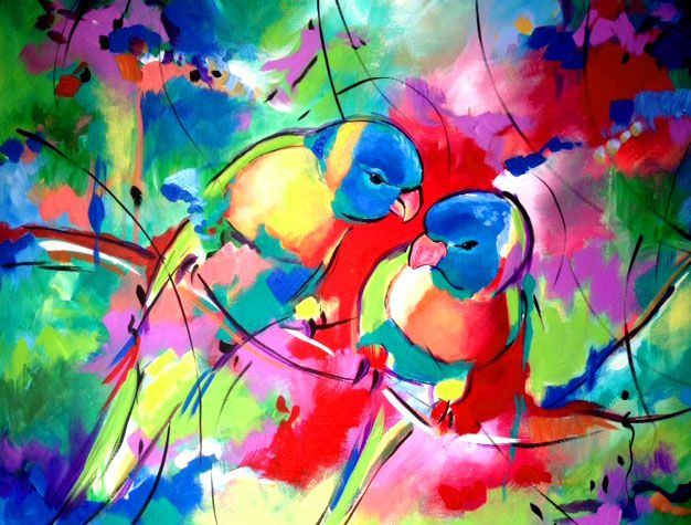 Love Birds Abstract Pop Art Acrylic On Canvas Framed