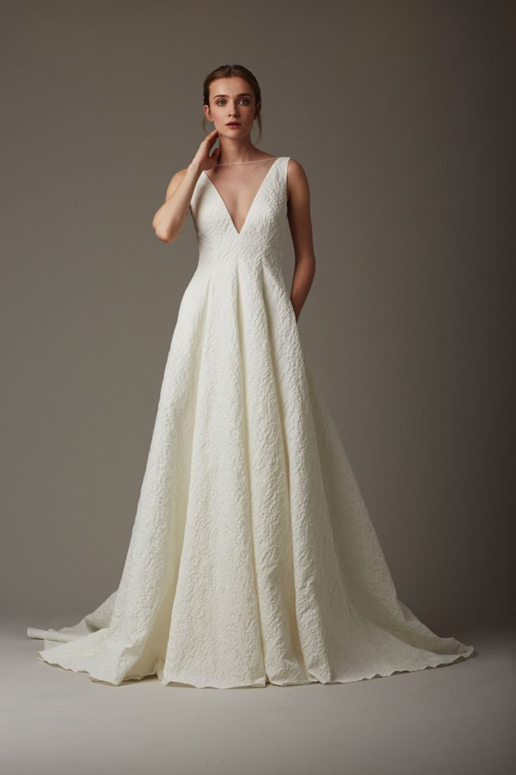 The Stream Lela Rose Wedding Dress #weddingdress #deepv