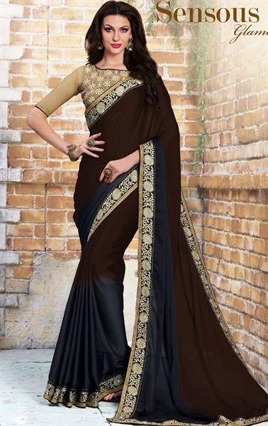 Decorous Chocolate Party Wear Saree
