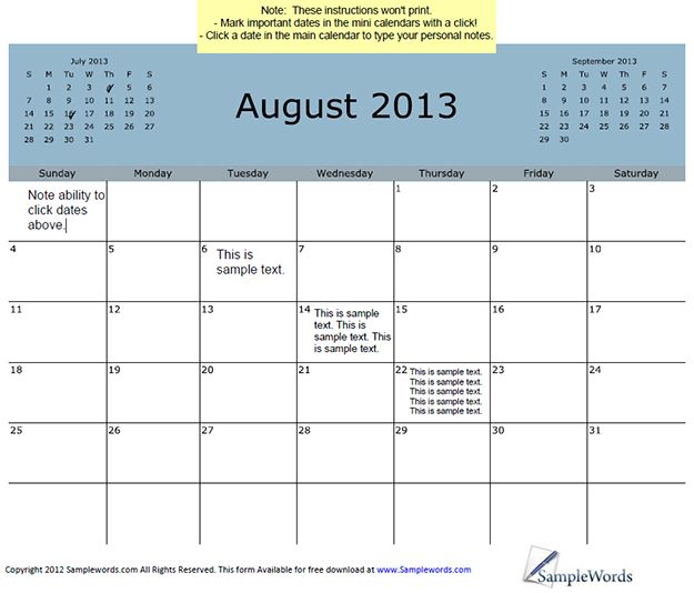 August 2013 Calendar With 3-Month View.  Type information on the important dates and simply save or print.
