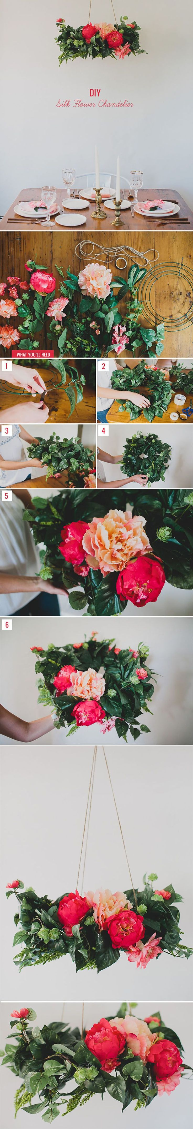DIY Silk Flower Chandelier.  Designed by Green Wedding Shoes with faux flowers and greenery from Afloral.com.  Follow this easy DIY for a cheap wedding centerpiece that your guests will love!