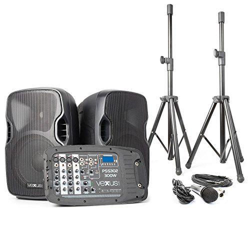 cool Vexus PSS302 Equipo de sonido móvil PA Bluetooth (Altavoces 300W potencia máx, entrada USB, SD, RCA, Jack, XLR, 2x altavoz dj portátil, 2x trípode, 1x micrófono, bolsa transporte)