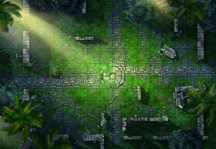 Jungle Ruins, a printable and online battle map for Dungeons and Dragons / D&D, Pathfinder and other tabletop RPGs. Tags: ruins, lost, Ras Nsi, spiders, ToA, Temple of Annihilation, jungle, puzzle, ancient, encounter, point defense, stones, crypt, print, roll20, fantasy grounds