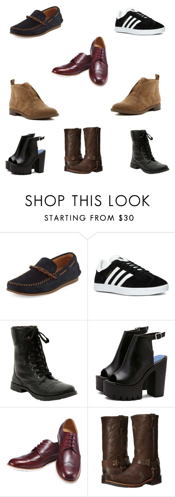 """FemBoi 7 Wonder Shoe Capsule"" by veganchefmarie on Polyvore featuring John Varvatos, adidas, Harley-Davidson and Franco Sarto"