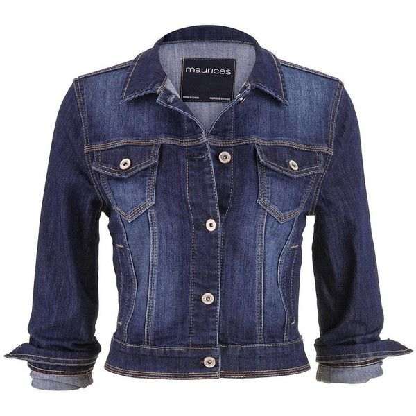 maurices Denim Jacket In Dark Wash found on Polyvore featuring outerwear, jackets, coats, tops, dark sandblast, plus size jackets, maurices, long cotton jacket, plus size jean jacket and blue jean jacket
