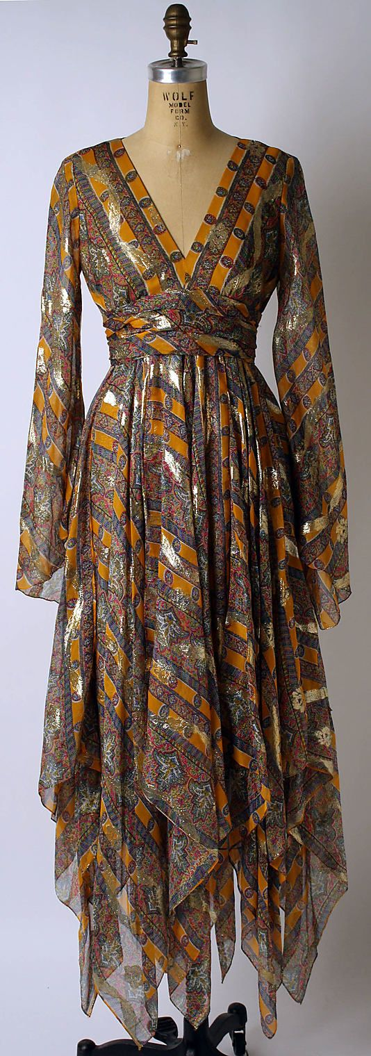1967 Bill Blass Cocktail dress Metropolitan of Museum, NY. To see more museum dresses go to www.vintagefashionandart.com.
