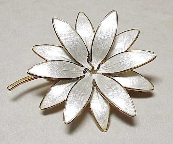 Vintage Sterling Silver Flower Brooch NORWAY Guilloche Enamel Gold from arnoldjewelers on Ruby Lane