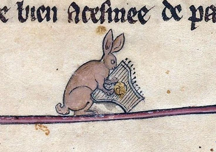 rabbit playing the dulcimer from le livre de lancelot du. Black Bedroom Furniture Sets. Home Design Ideas