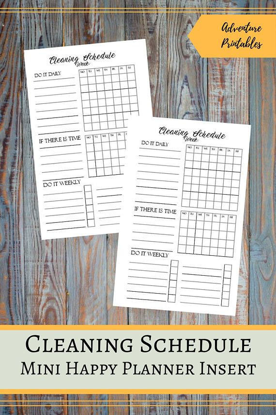 Cleaning Schedule Printable Insert for the Mini Happy Planner, Cleaning Plan, Cleaning Chores List, Daily Chores, Mambi Planner, Create 365  ▶WHAT IS INCLUDED  You will receive 1 ZIP file that contains: Cleaning Schedule Insert design - 1 PDF File Cleaning Schedule Insert design - 2 JPG files Cleaning Schedule Insert for printing on A4 - 1 PDF File Cleaning Schedule Insert for priting on A4 - 1 JPG File Cleaning Schedule Insert for printing on Letter Size- 1 PDF File  ▶ SIZE:  Mini Happy…