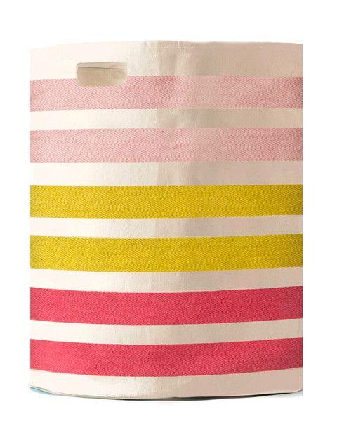 Pink Stripes Canvas Hamper
