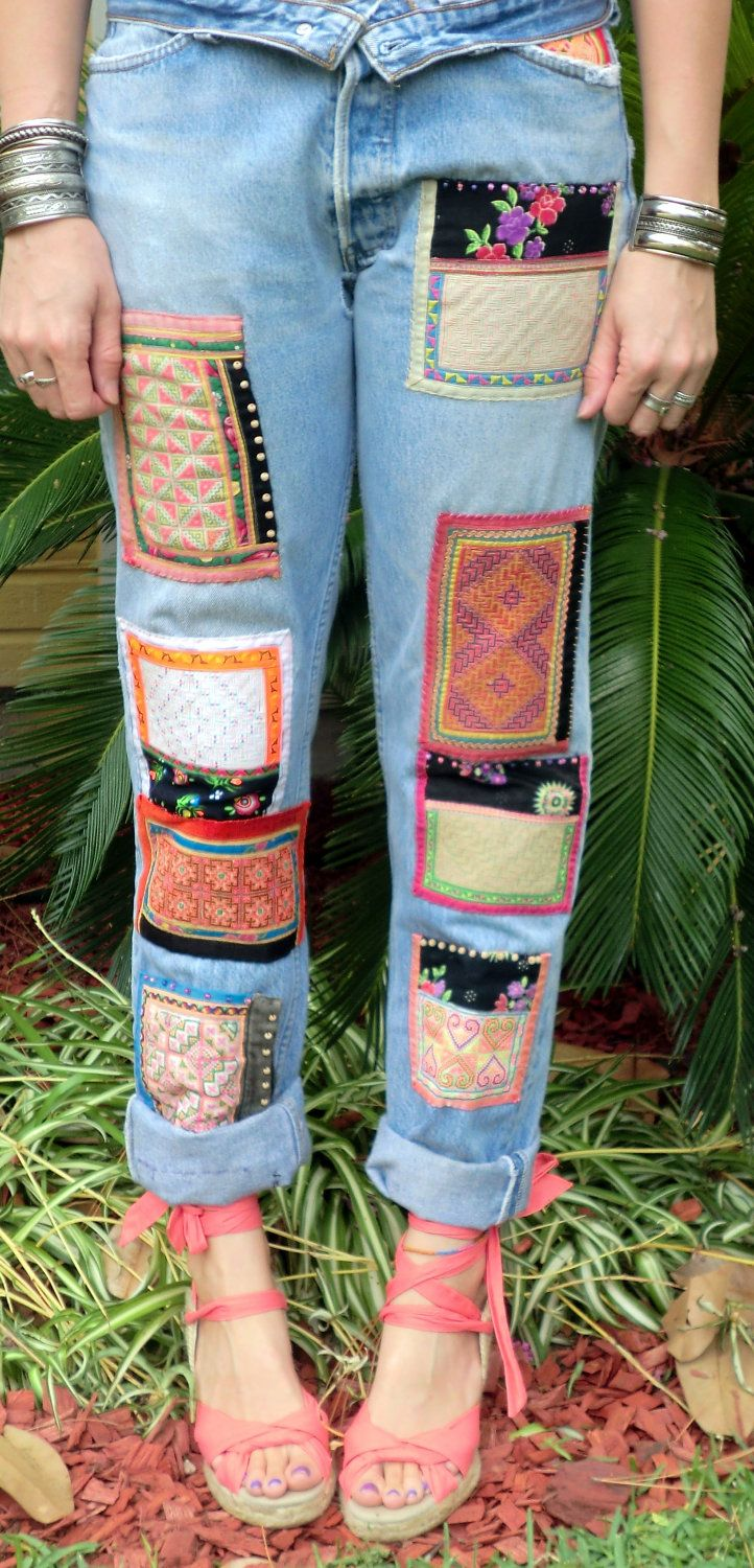 Vintage Levi 501 JEANS Patched Boyfriend  Embellished Hmong TRIBAL Global Hippie Bohemian Style. $165.00, via Babylon Sisters Etsy.