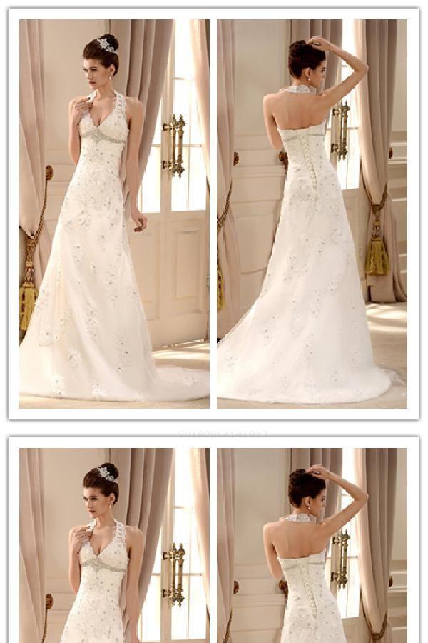 Hot Sale Delightful Wedding Dresses A-Line A-line Halter Sweep Brush Train Inexpensive Great Wedding Dresses #SD2406