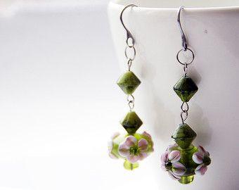 Green Dangle Earrings / Lampwork Bead Drop Earrings / Flower Earrings Boho / Green jewelry Bohemian / Gift for Florist / Long Drop earrings