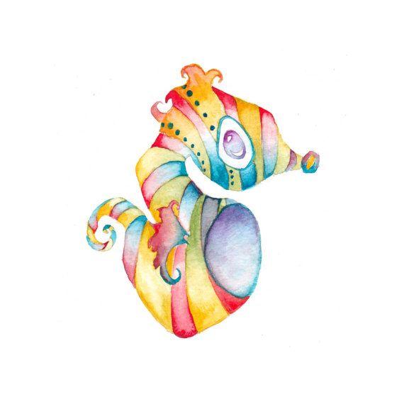 Seahorse Painting - Ocean Nursery Art Print - Watercolor Painting Print - Kids Wall Art - Baby Shower Gift - Ocean Baby Room Art