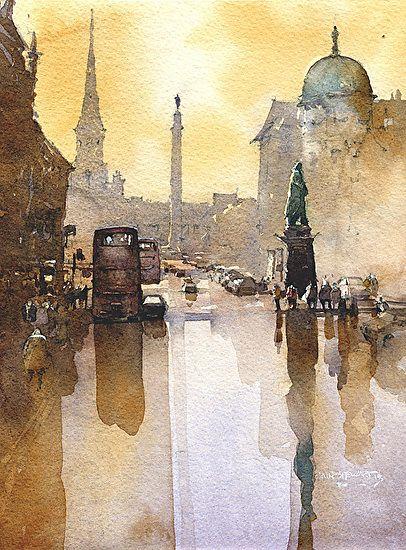 Watercolor George Street- Edinburgh by Iain Stewart