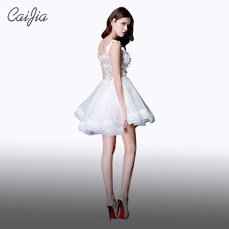 Caijia 2017 Flower White Sexy Transparent Party Dress Fashion Lace And Applique Ball Gown Dress Braces. Click visit to buy
