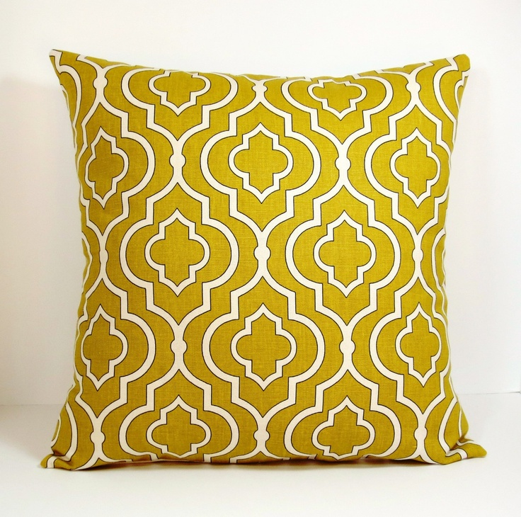 Mustard Throw Pillow Covers : Mustard Yellow Gold Moroccan Trellis decorative throw pillow cover 18 x18 inches /Accent cushion ...