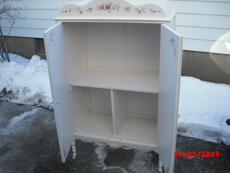 Wardrobe Turned Tv Media Center. Vintage Painted Shabby Chic Armoire  Wardrobe Chifferobe Bedroom Furniture #