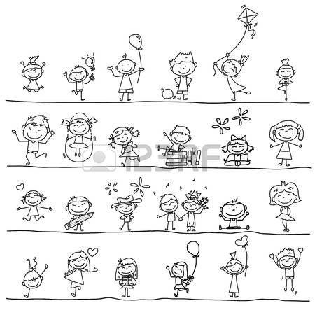 hand tekenen cartoon gelukkig kinderen spelen Stockfoto