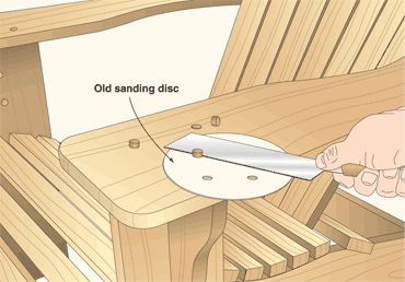 Sanding-disc shim cuts plugs close