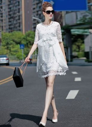 White Lace Summer Dress-----------------Red White Lace Solid Half Sleeve Above Knee Dresses