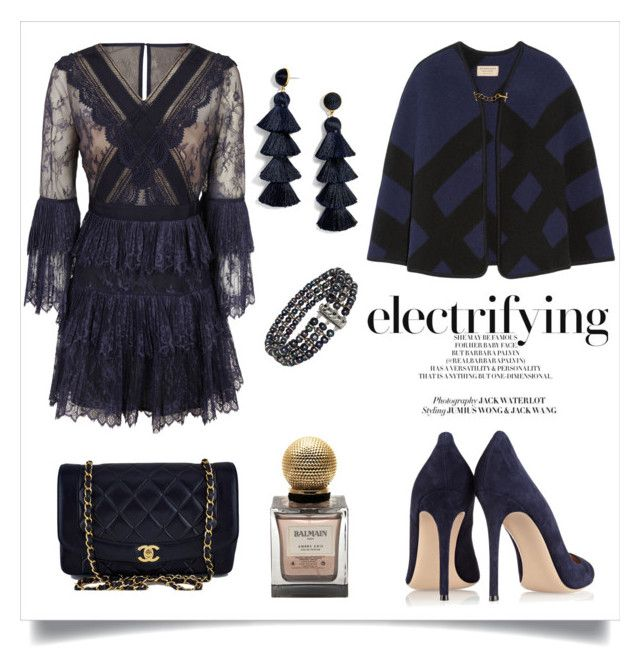 """""""Untitled #319"""" by joanna-tabakou on Polyvore featuring Burberry, Gianvito Rossi, self-portrait, BaubleBar, Chanel and Balmain"""