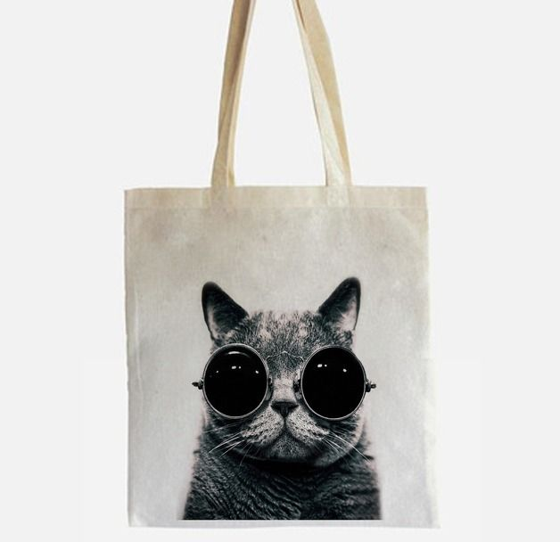 Jutebeutel Katze // tote bag #sac #cabas #totebag #baiseenville #toile #tissu #coton #lin