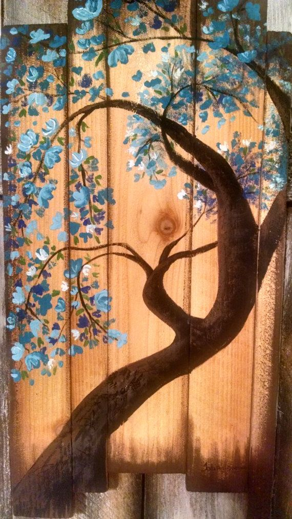 Blue Blossom Explosion Tree Hand Painted by GazelleMuralDesigns