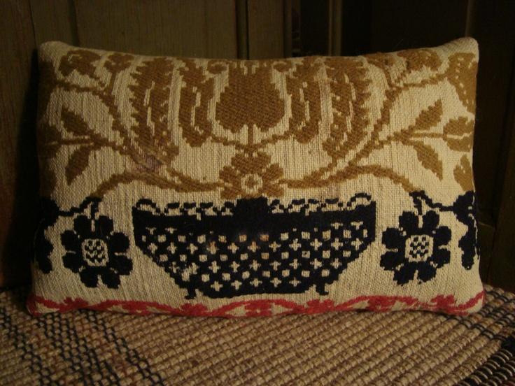 Antique 1861 Lancaster PA Coverlet Pillow