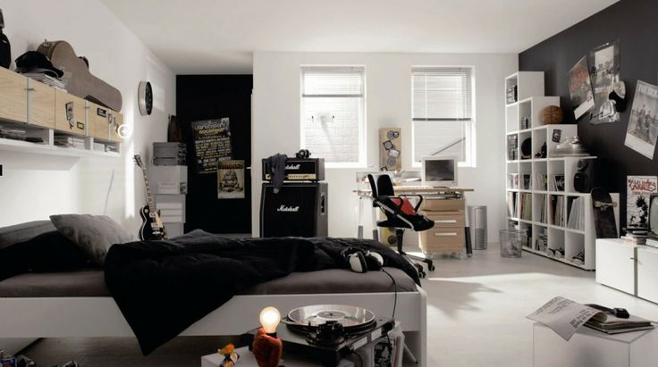 White And Black Punk Rock Music Theme Plus Full Music Accessories For Teen Bedroom Ideas