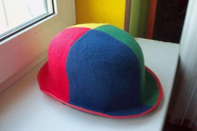 Шляпа клоуна для взрослого, клоунская шляпа - котелок. Киев - изображение 1