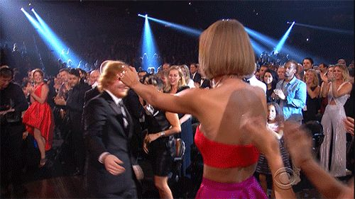 Pin for Later: From Taylor Swift's Freakout to Chrissy Teigen's Dance Moves, See All the Best Grammys Moments Taylor Swift and Ed Sheeran shared a sweet hug before she continued hyperventilating.
