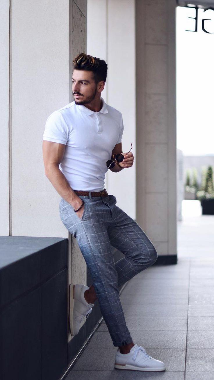 White Polo Shirt Outfit Ideas For Men #poloshirt #shirt #outfitideas #mensfashion #streetstyle #Mensoutfits