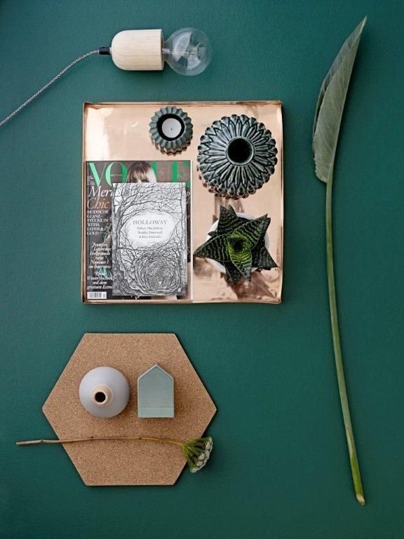 Bloomingville AW14. www.bloomingville.com This Green & copper, with cork texture - lovely combination.