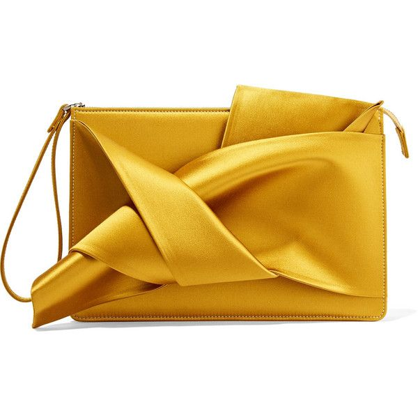 No. 21 Knot satin clutch (£275) ❤ liked on Polyvore featuring bags, handbags, clutches, saffron, zipper purse, yellow purse, zip purse, yellow clutches and zipper handbag