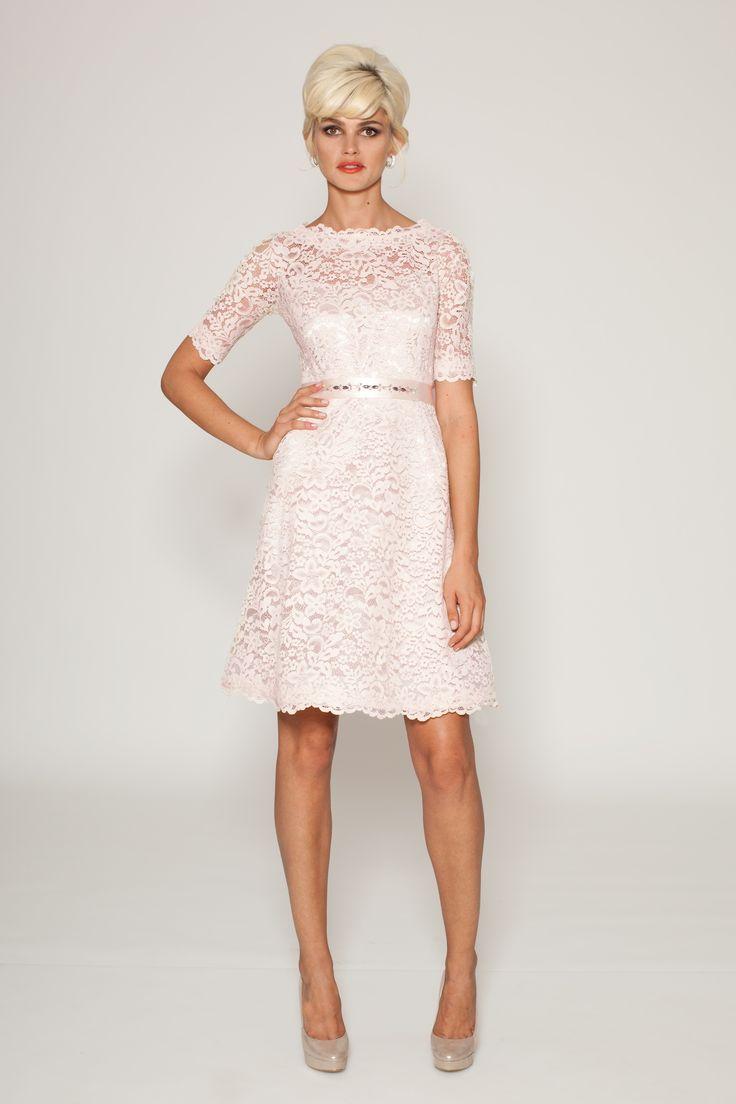 Blush colored cocktail dress blush boatneck lace for Lace blush wedding dress