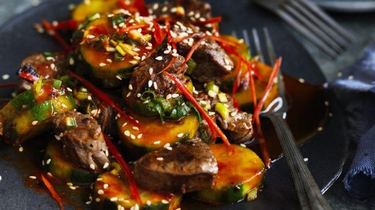 Stir-fried Korean beef with cucumber