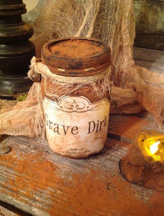Primitive Witchy Salem Halloween Grave Dirt Grungy by Primigram