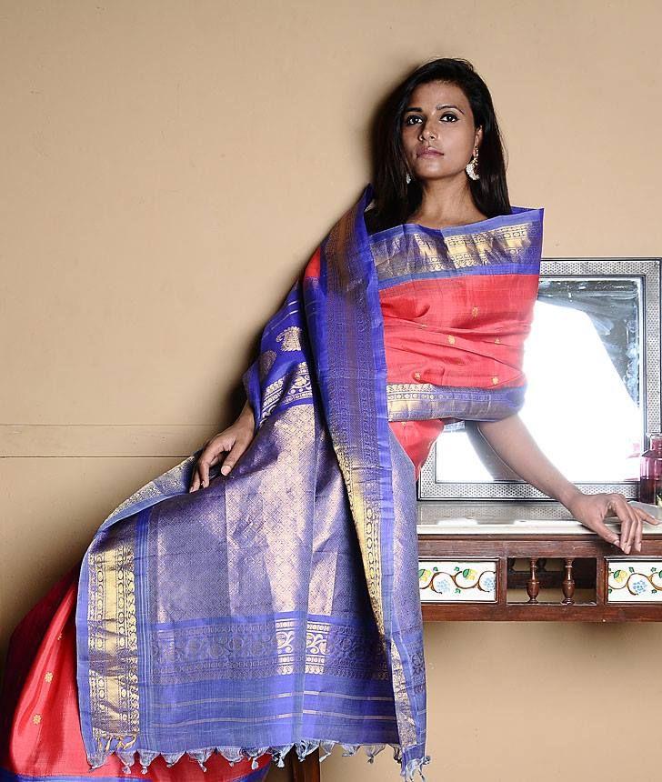 Gadwal sari - handloom silk, available at Omnah. www.facebook.com/omnah. Pic courtesy: Jaypore