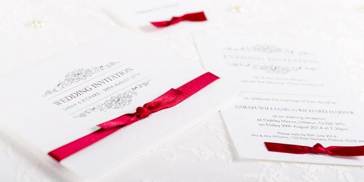 Exquisite Handmade Wedding Invitation Design - decorative pattern and ribbon