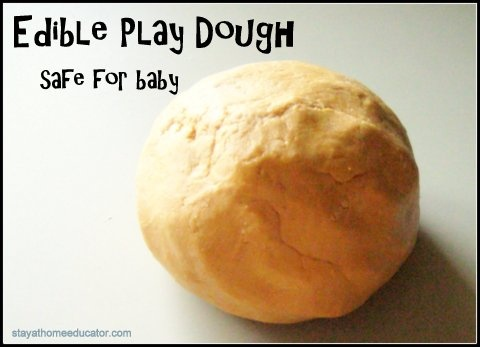 Kate's Gosselin's Edible Play Doh Recipe:  Peanut Butter Play-Doh-  1/2 cup peanut butter 1/2 cup honey 1 cup powdered milk Knead until smooth but add a dash of flour for texture.