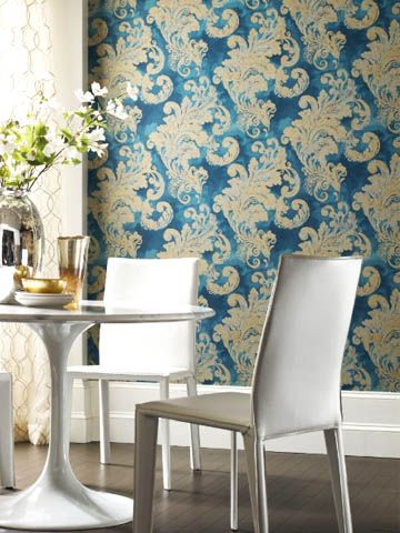 Fabricut's brand new metallic wallpaper collection pulls influences from luxurious old Hollywood glamour. #interiors #decor #design #ideas #spring #metallics #collections