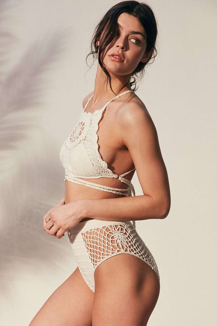 Somedays Lovin Daphne Crochet High-Waisted Bikini Bottom - Urban Outfitters