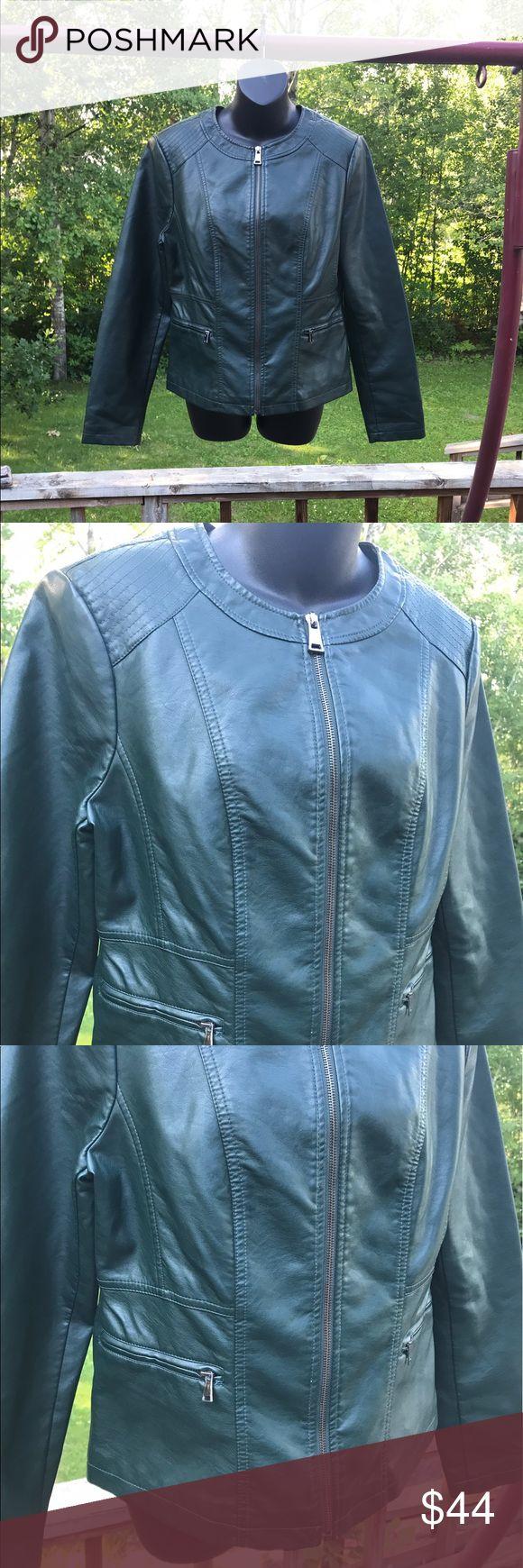 Green Leather Jacket Dark emerald green leather jacket. Working zippers, has pockets. #green #leather #jacket #zipup #pockets #cute #stylish Roz & Ali Jackets & Coats