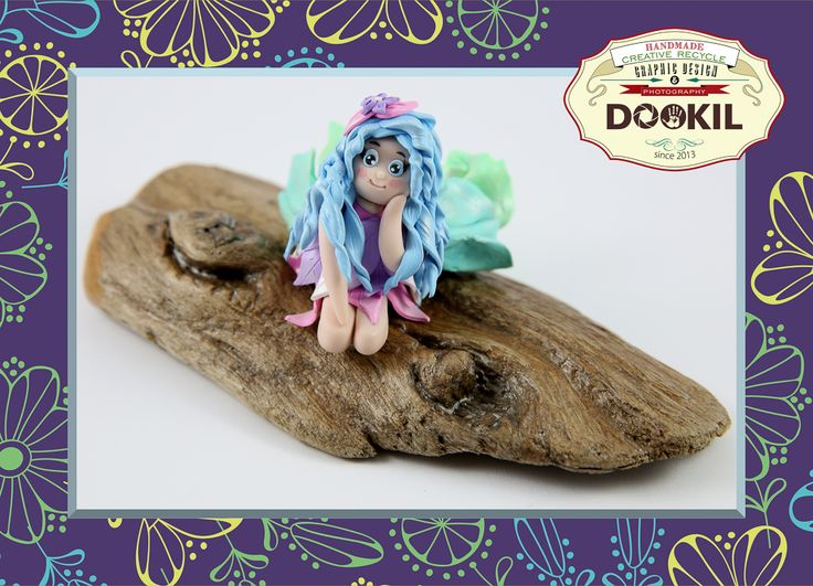 """★☾ Doll """"Fairy's Daydream"""" realizzata in argille polimeriche su legno levigato naturalmente recuperato sulle rive del Rio Gabbiane decorato con impregnante a base d'acqua. www.facebook.com/DookilHandmade"""