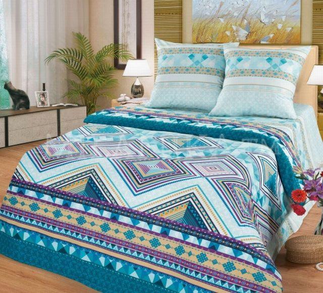 Купить постельное белье бирюзовое этническое Малахит