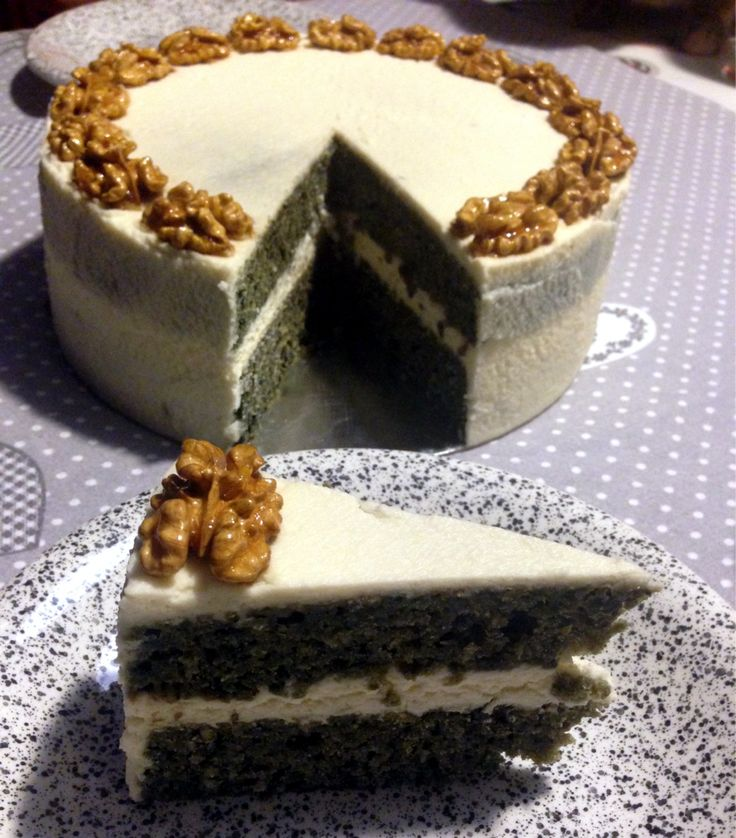 Purple carrot cake with mascarpone maple frosting and caramelized maple wallnuts