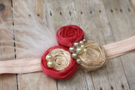 Ivory and Coral Headband Rosette Headband by AldonasBoutique,