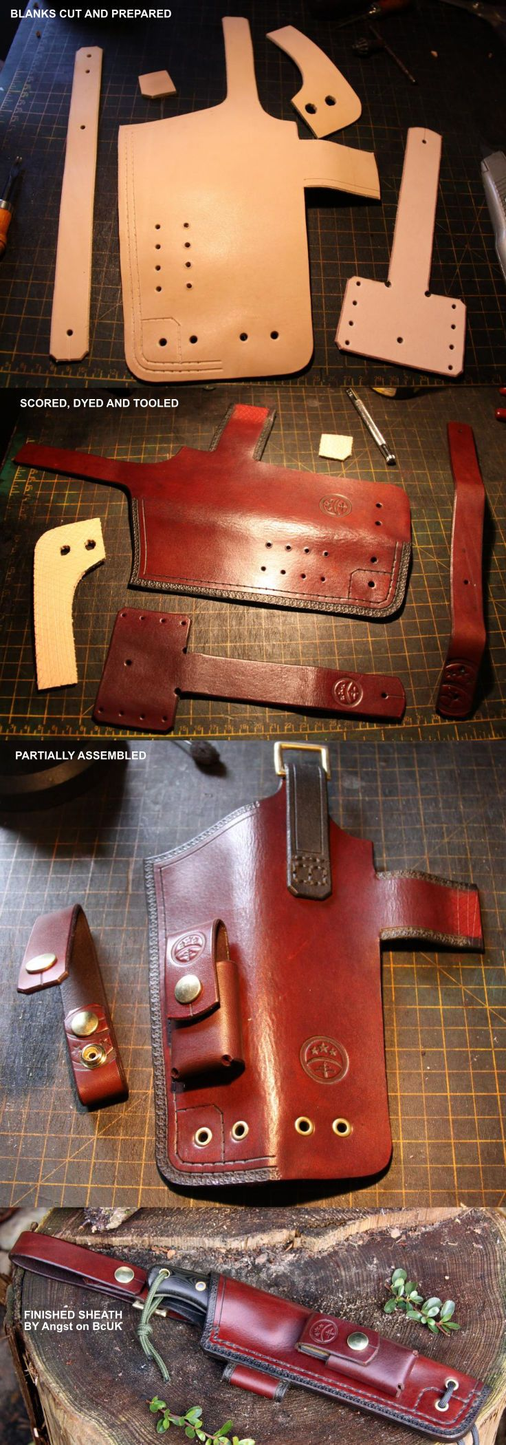 Custom Sheath by Sonni - a few of the construction stages https://www.etsy.com/listing/475473093/custom-fixed-blade-knife-handmade-sheath?ref=shop_home_active_16
